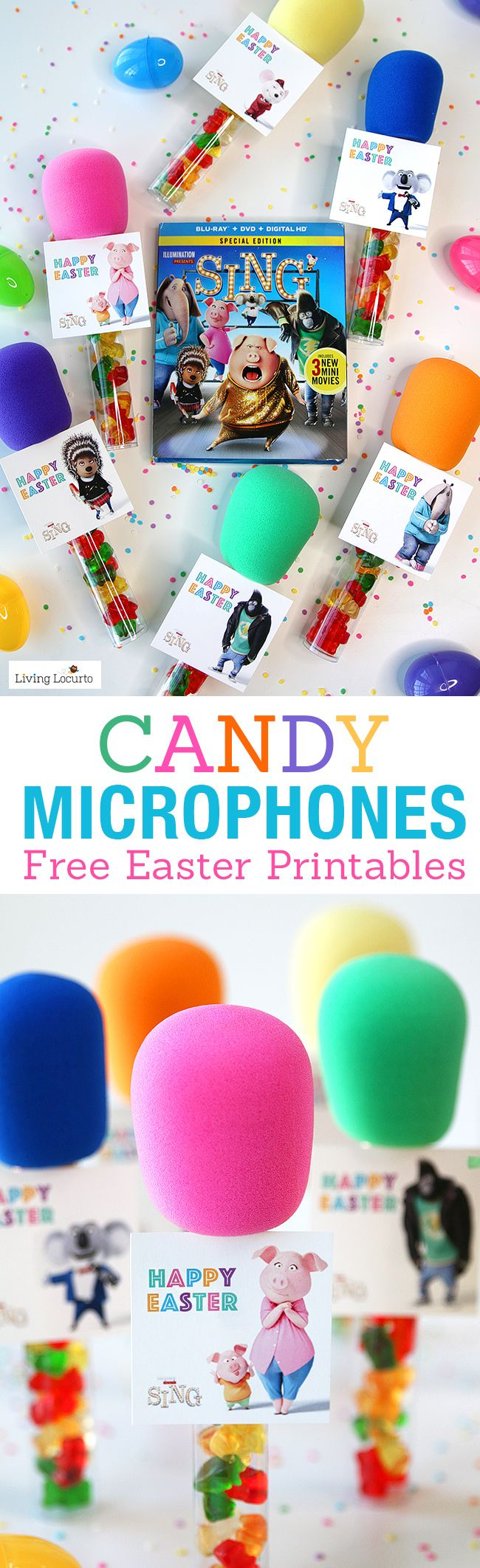 DIY Candy Microphone Party Favors. A perfect craft for a birthday, Easter baskets, or teacher gifts! SING movie themed tags, free printable download.