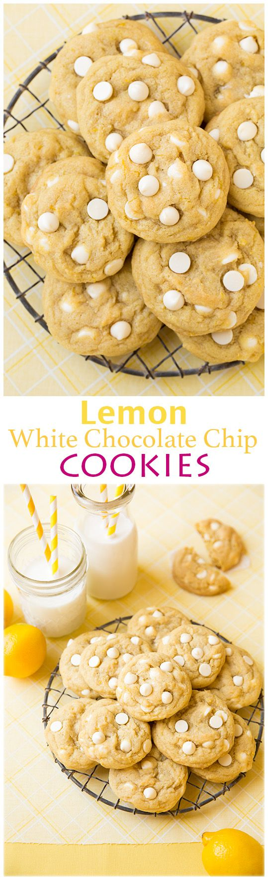 Lemon White Chocolate Chip Cookies - these cookies are INCREDIBLE! So lemony, so soft and perfectly chewy.