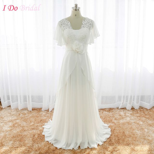 Boho Wedding Dress Plus Size Cheap Real Photo Off White Trouwjurken Country Bridal Gown Lace Imported China Chiffon R124