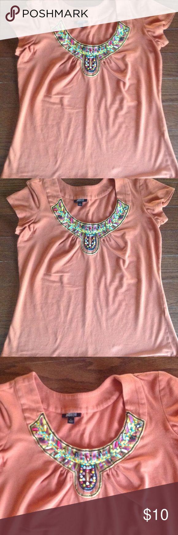 Aztec Print beaded short sleeve tshirt Round neckline, beading on neckline, color is harvest orange metrostyle Tops Tees - Short Sleeve