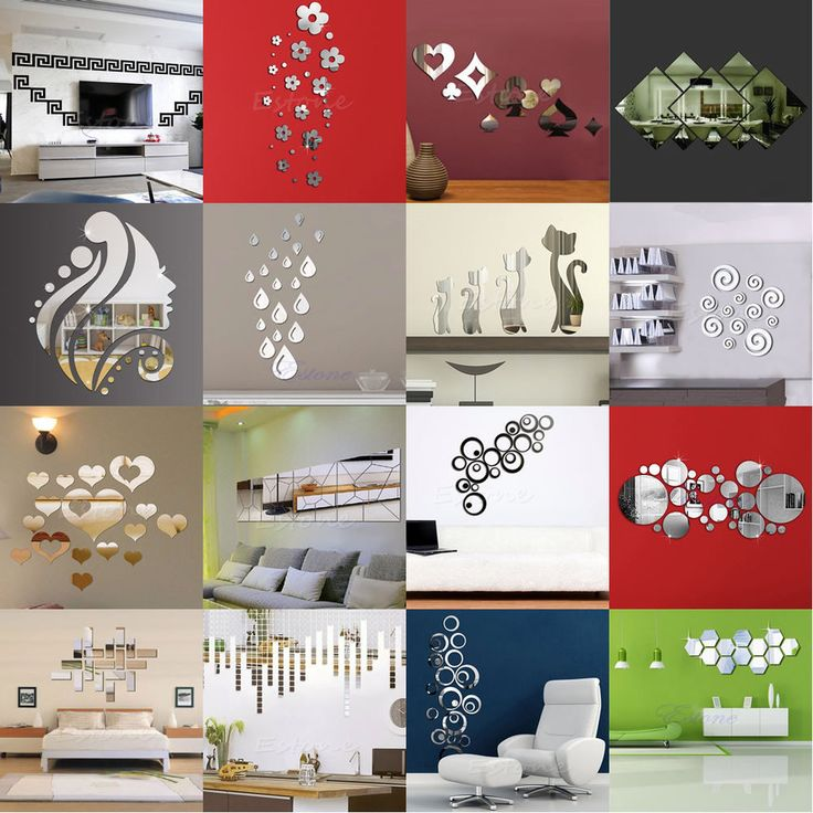 Fashion Silver Acrylic 3D Mirror Effect Wall Stickers Home Decor Vinyl Stickers #Unbranded
