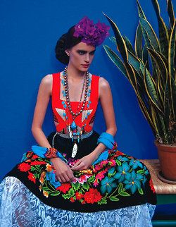 Inspired by: Mexican heritage, vibrant red cool blue colorways, and floral motifs. From Vogue Mexico.