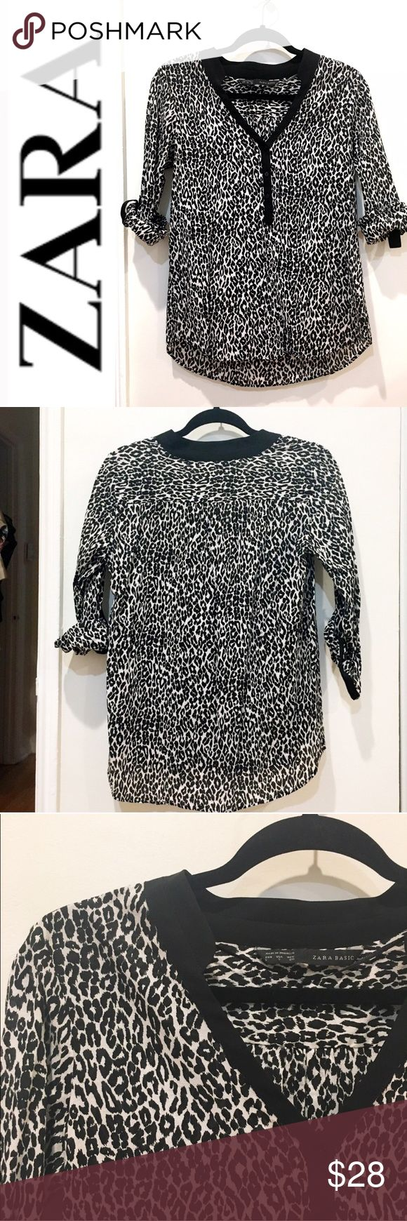 """Zara b&w leopard print shirt Pretty black & white leopard print blouse from Zara. Lightweight. Cotton. No condition issues, gently worn. Slightly high low. Roll up sleeves. Length from shoulder is about 22"""". Armpit to armpit flat is 19"""". Zara Tops Blouses"""