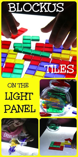 If putting things together appeals to your More Serious Type 4 Child, they might spend a lot of solitary time with an activity like this—Blokus tiles on a light table.