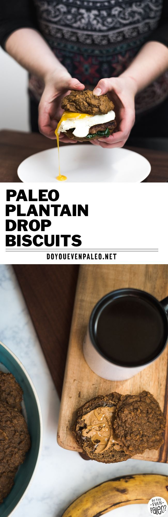 Easy paleo plantain drop biscuits made with just your blender! Use these sweet plantain biscuits for breakfast sandwiches, nut butter & jam sandwiches, or just as a snack. This healthy baked plantain recipe is also gluten free, unsweetened, and clean eating. | DoYouEvenPaleo.net #paleo #doyouevenpaleo #glutenfree