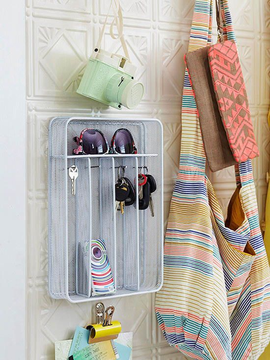 When it comes to using trays, it's OK to think outside the box. You can hang a tray on the wall, or just set it down on a shelf. Either way, utensil trays are a great way to compartmentalize your easily lost items. Find this one here.