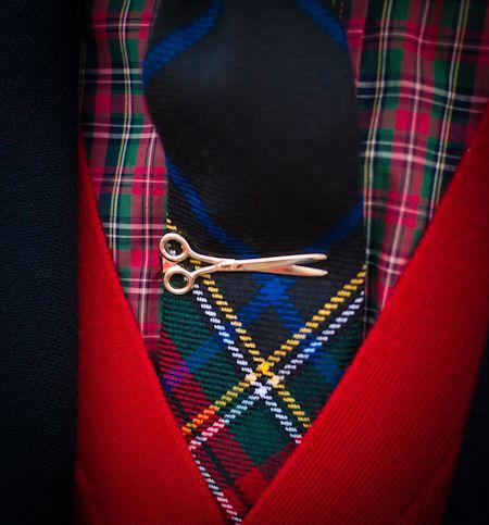 Golden Shears Tie Bar on tartan