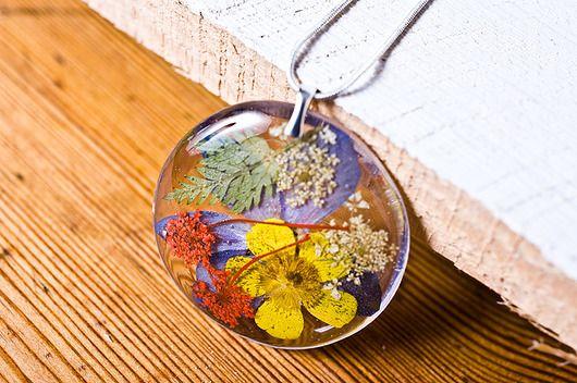 Naszyjnik z kwiatami - żywica, srebro
