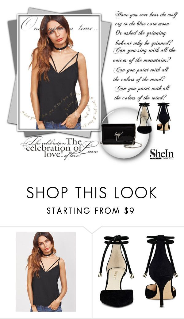 """Black cami top"" by arijanagetos55 ❤ liked on Polyvore featuring Nine West, Giuseppe Zanotti and Once Upon a Time"