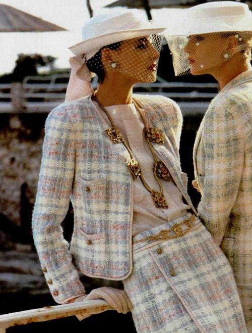 Chanel campaign Summer 1984 with Inès de la Fressange and Christine Bolster shot by Helmut Newton