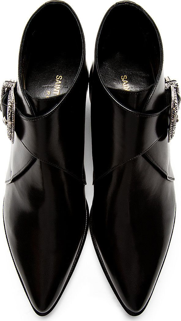 Saint Laurent Black Leather Western Buckle Ankle Boots