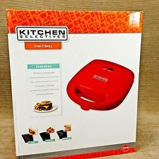 Kitchen Selectives 3 in 1 Grill Waffle Sandwich Maker Griddle Non-Stick Plates