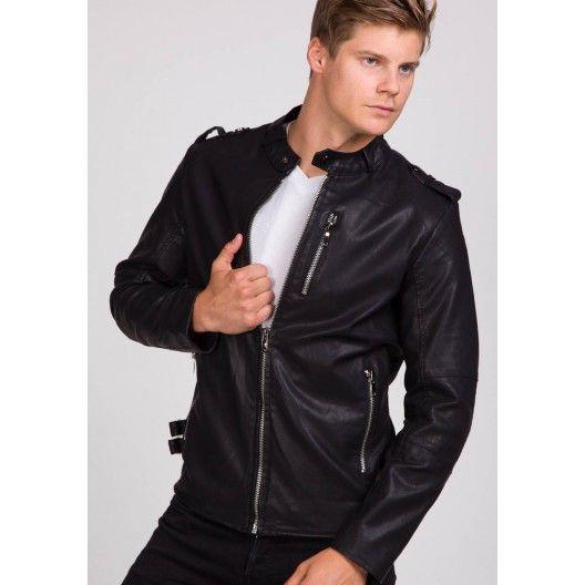 Čierna pánska koženková bunda bez kapucne - fashionday.eu