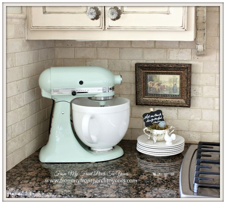 Pistachio KitchenAid Mixer-French Farmhouse Kitchen- From My Front Porch To Yours