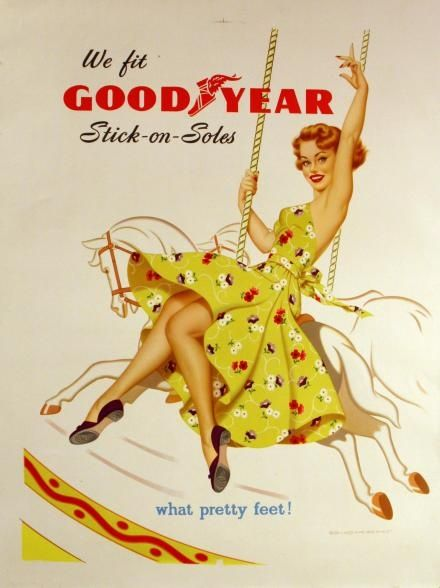1950's Good Year Stick on Soles advertisement. Pin up girl 1950's    Tumblr