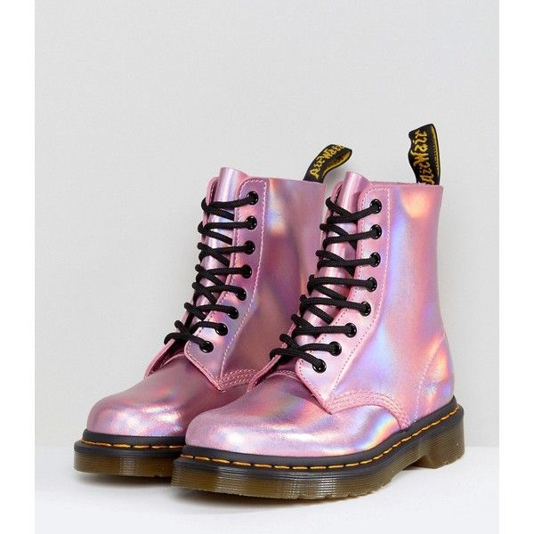 Dr Martens Leather Holographic Pink Lace Up Boots (€145) ❤ liked on  Polyvore featuring shoes, boots, pink boots, holographic boots, leather  boots, dr ... 52fd435698