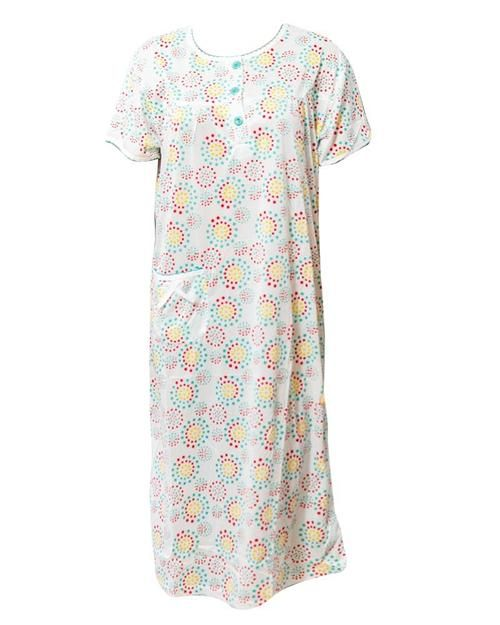 4341741ec7 White Long Nighty Printed   Side Pocket Yellow Shade 4014 - Women Nightdress