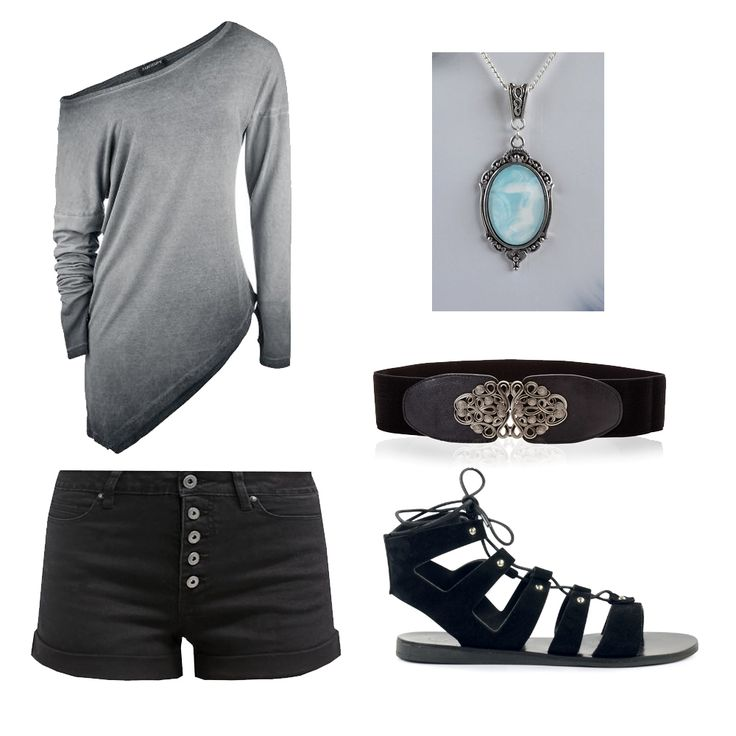 Rock-Alternative-Casual Outfit Inspiration. Top: http://www.large.nl/art_323869/  Shorts: https://www.zalando.nl/even-odd-jeans-shorts-black-ev421sa02-q11.html necklace: https://www.etsy.com/nl/listing/280344692/fantasy-ketting-met-een-pastelblauw-wit?ref=shop_home_active_3&langid_override=0 Belt: http://www.bonprix.nl/product/stretchriem-zwart-974837/ Shoes: https://www.sacha.nl/shop/damesschoenen/sandalen/zwarte-gladiator-sandalen/3x6352/