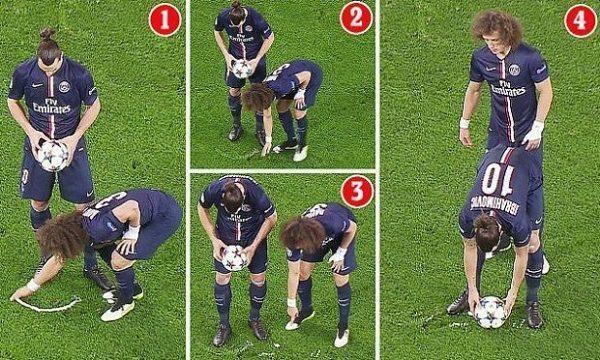Brazylijczyk namalował linię podczas meczu Ligi Mistrzów • David Luiz ładuje Zlatana Ibrahimovicia od tyłu • Zobacz śmieszny mem >> #psg #luiz #football #soccer #sports #pilkanozna #funny