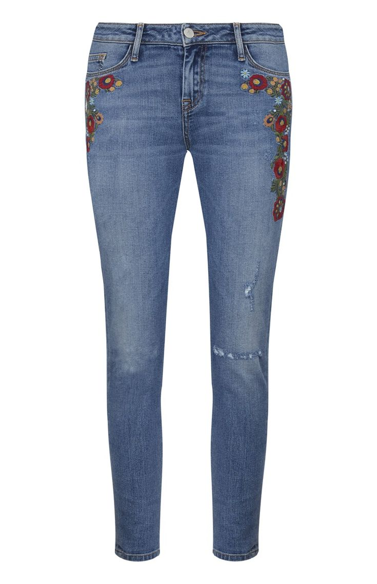 Primark - Red Floral Embroidered Mom Jeans