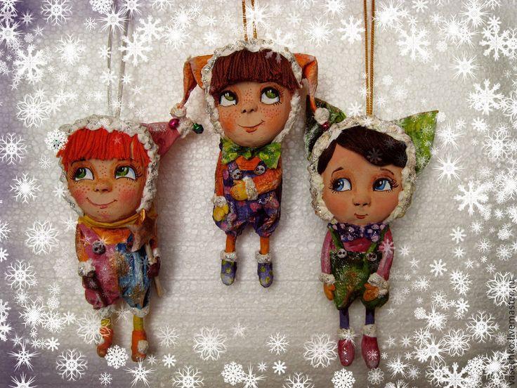 """Коллекционные куклы ручной работы. Ярмарка Мастеров - ручная работа Елочные игрушки  """"Веселые ребята"""". Handmade."""