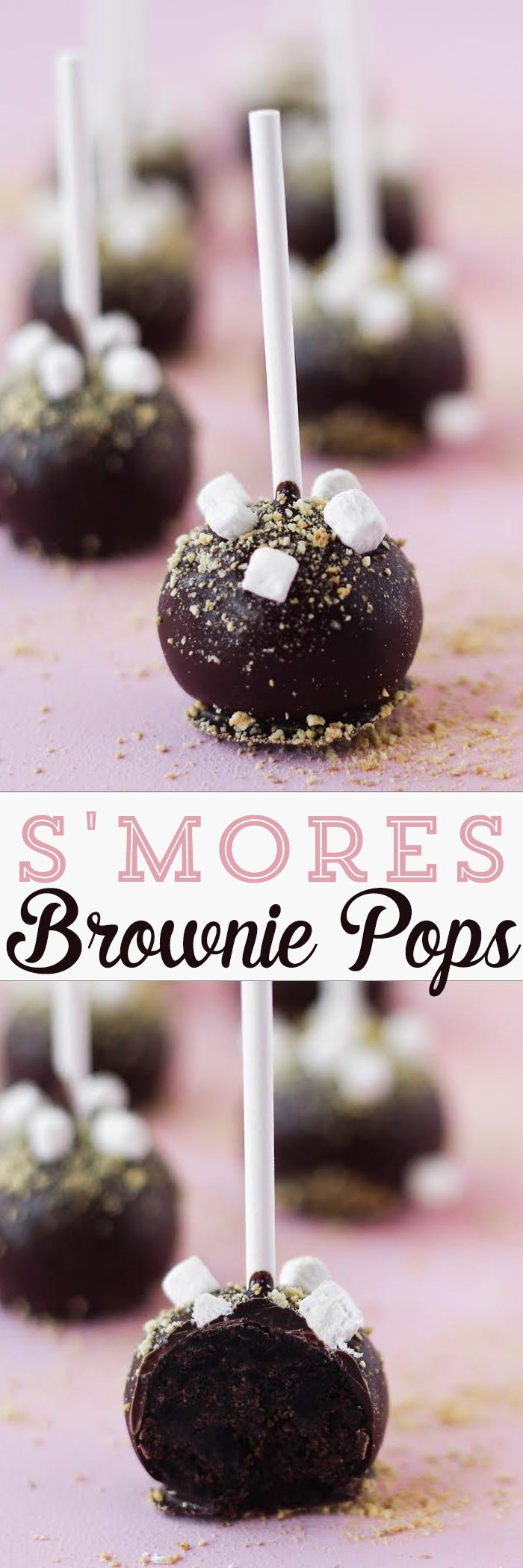 S'mores Brownie Pops - simple step-by-step instructions and a list of ingredients.