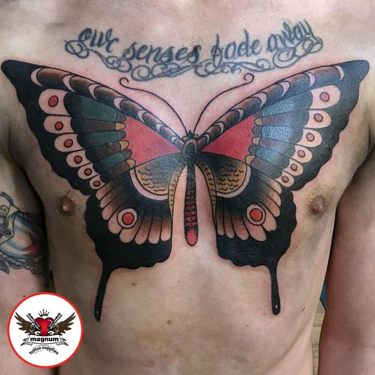Butterfly piece done by Mike Davies with #magnumtattoosupplies