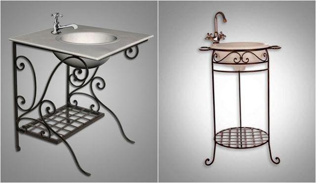 Mobiliário e acessórios em ferro para a casa de banho