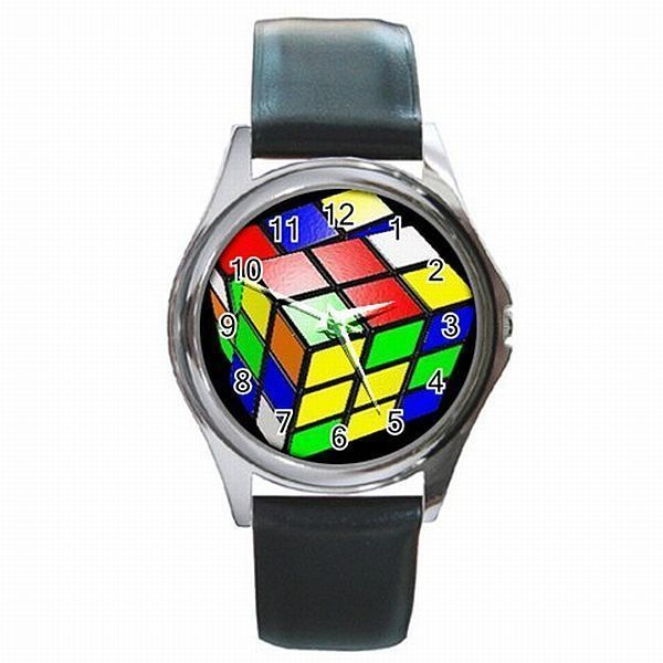 Rubiks Cube 3x3x3 Classic Rubik Puzzle Colorful Rubix Custom Leather Watch New!  Can't remember the last time I wore a watch.