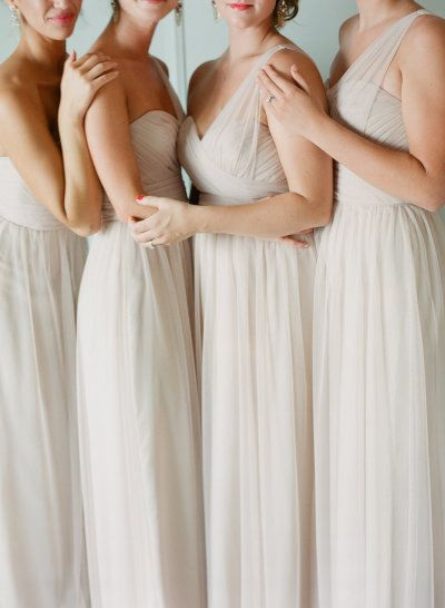 Neutral beige bridesmaids' dresses for Pochahontas' wedding: http://www.stylemepretty.com/2016/07/07/disney-princess-fairytale-wedding/