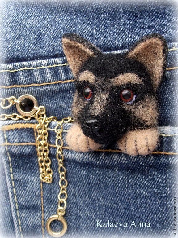 Купить Щенок немецкой овчарки,брошь - разноцветный, Немецкая овчарка, щенок, щенок из шерсти, брошь