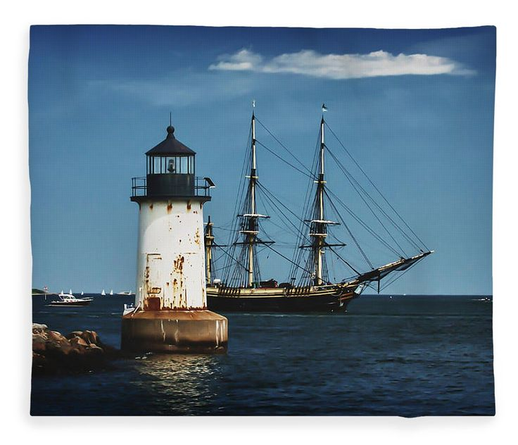 New England Fleece Blanket featuring the photograph The Friendship Returns To Salem Harbor by Jeff Folger