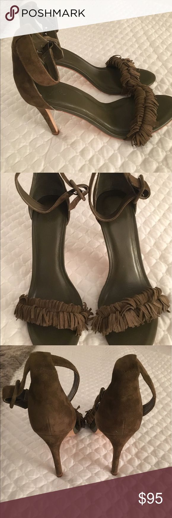 "Joie Pippi Fringe Sandal Shoe Heels Green Brown Moss soft suede. Fringed toe strap with adjustable ankle-strap. 3.75"" covers stiletto heel. In good condition. Joie Shoes Heels"