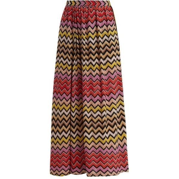 Missoni Mare Zigzag-striped crochet knit maxi skirt ($901) ❤ liked on Polyvore featuring skirts, multi, missoni mare, crochet maxi skirt, brown maxi skirt, knit skirt and floor length skirt