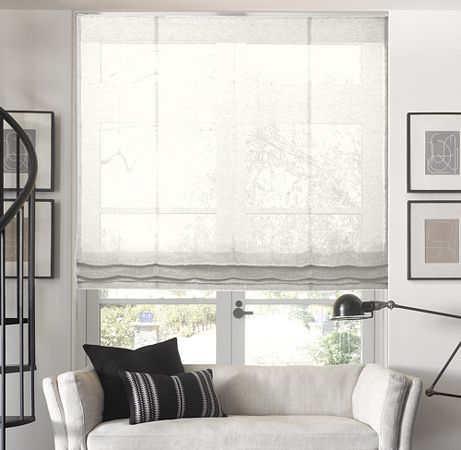 Sheer flat roman shade custom shades restoration for Restoration hardware window shades