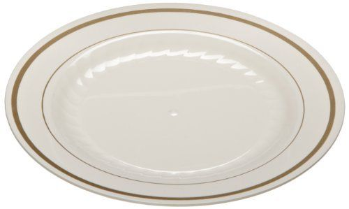 "Masterpiece MP6IPREM 6"" Ivory with Gold Printed Polystyrene Round Plate (15 Packs of 10) by Masterpiece. $87.36. 6"" Plastic Plates Masterpiece dinnerware is made from heavyweight, durable plastic. Provides an excellent alternative to hand-painted china, removing the problems involved in breakage and transport. The gold accents and fluting add grace and style to any occasion. This dinnerware presents all the beauty of hand-painted china with the convenience of a di..."