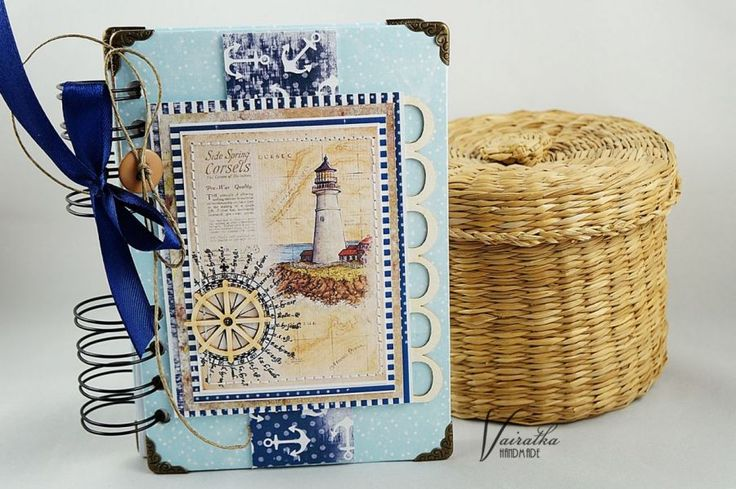 Notes morski – Notesy - ostatnia sztuka - kolor: kość słoniowa, szaroniebieski, granatowy, wymiary: 10,7*15,2cm + sprężyna – Artillo