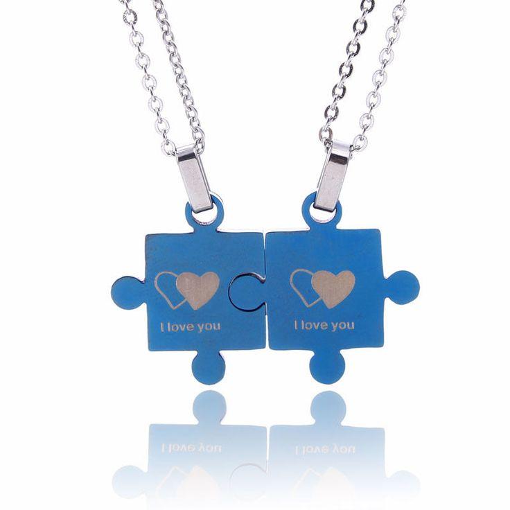 NEW Titanium Steel Jigsaw Puzzle 2 piece Split Couples Pendant Necklace NL-2480 #Welldone #Pendant