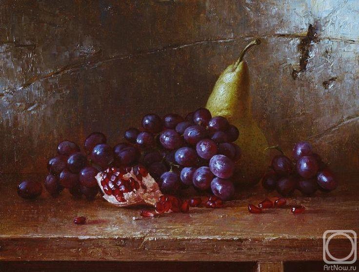 Картина маслом на холсте «Груша, виноград и гранат ...