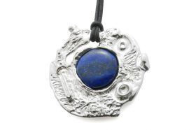 Galaxies Pendant Art pendant jewel, silver 925 and lapis lazuli. Limited edition.
