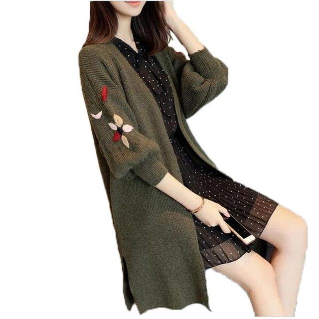 Buy Women Cardigans Casual Warm Long Design Female embroidery ...