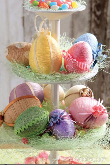 Decorate FoaM eGGS for beautiful DIY EaSTeR DeCoR ___Use HoT GLue To aDD eMBeLLiSHMeNTS in a Spring Color Palette