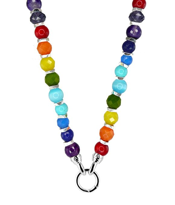 NECKLACE SPECTRUM LUXE RED CORAL (SEA BAMBOO) ORANGE, YELLOW, GREEN AND BLUE CATS EYE,RECONSTITUED TURQUOISE,JADE,AGATE 49CM - Jons Family Jewellers