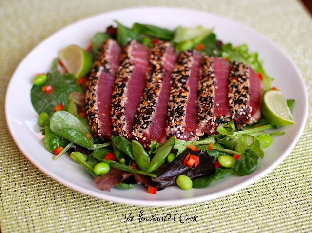 Pan Seared Ahi Tuna Salad with Sesame Ginger Dressing. my all time favorite thing. especially at j alexander's and bonefish!