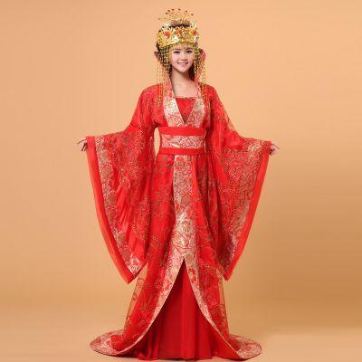 古装服装 红色结婚礼服舞台装 演出服唐装汉服女 皇后唐朝 贵妃装-淘宝网