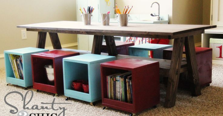 With 5 kiddos under the age of 9 I have been in need of a larger kids play table. I spent $65 on the lumber and had it built in under 2 hours. My kids love it…