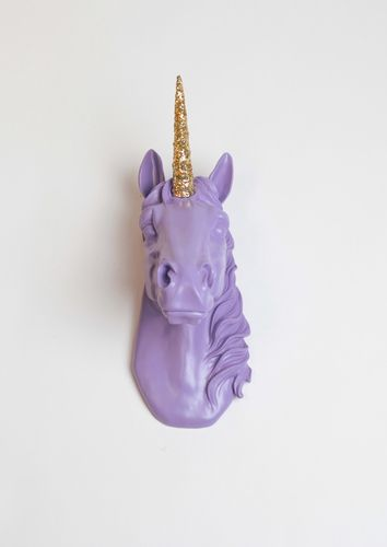 The Bayer in lavender resin unicorn head bust with gold glitter horn.  Unicorn decor wall art by White Faux Taxidermy.