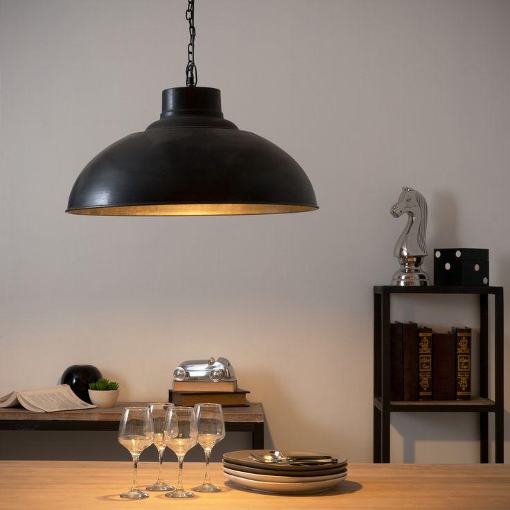 Hängeleuchte im Industrial-StilFIELD aus Metall mit Rosteffekt, D 56 cm, schwarz   Maisons du Monde