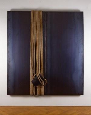 Jannis Kounellis  Senza Titolo, 1990, ferro,corde e crogiuolo, cm. 200x180