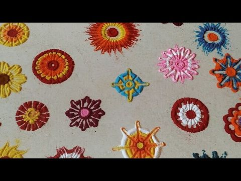 25 RANGOLI Flower Making Techniques Using matchstick,bangles,toothpick b...